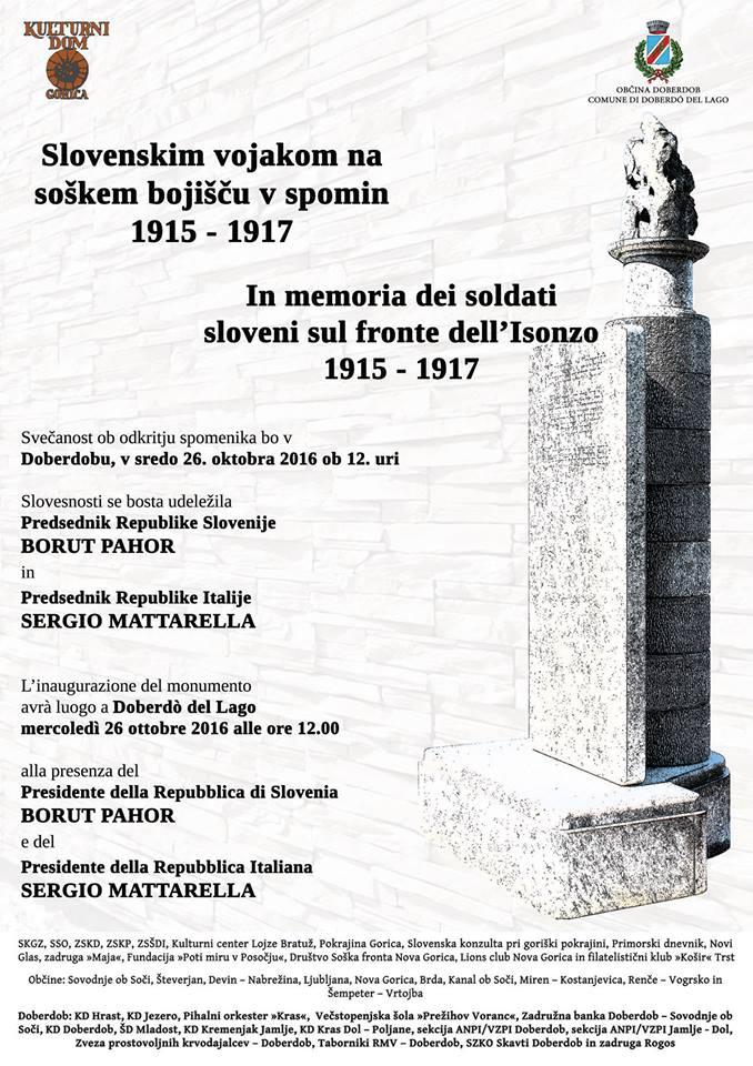 Inaugurazione del monumento In memoria dei soldati sloveni sul fronte dell'Isonzo 1915-1917